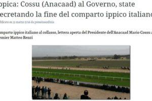Comparto ippico italiano al collasso, lettera aperta del Presidente dell'Anacaad Mario Cossu al premier Matteo Renzi