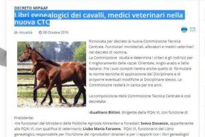 Libri genealogici dei cavalli, medici veterinari nella nuova CTC