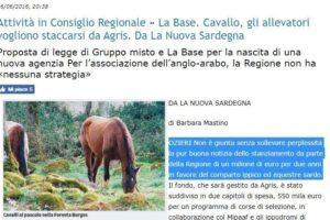 Cavallo, gli allevatori vogliono staccarsi da Agris. Da La Nuova Sardegna